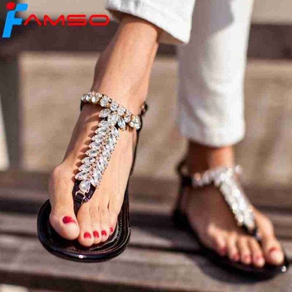 FAMSO 2019 Size 35-43 Shoes Women Sandals Black White T-Strap Elegant Sexy Lady Brand Shoes Rhinestone Office Prom Flats Sandals