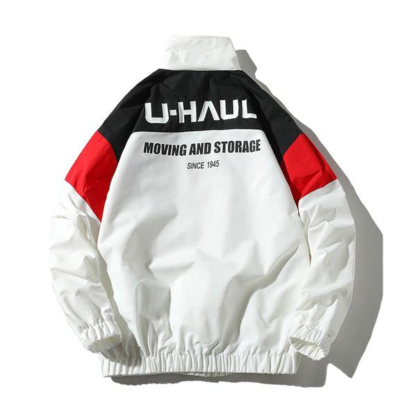 Hip Hop Rüzgarlık Paltolar Erkekler Ceket 2019 Vintage Renk Bloğu Rüzgarlık Zip Up Casual Streetwear Ceketler