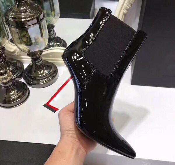 2018 neue hochhackige spitze kurze Stiefel, modisch, schlicht, bunt, Göttin, Designer, Damenstiefel, Größe 35-40.