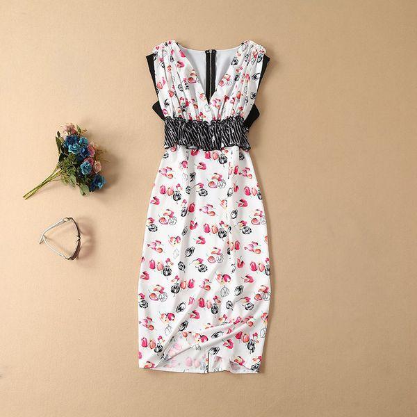 2019 весна лето без рукавов V-образным вырезом с цветочным принтом лоскутное шифоновое платье до середины икры Роскошные платья для подиума MAY091555A5