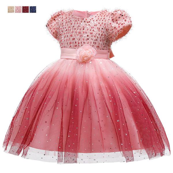 Девушки платье блестки Дети партии платье 2020 Новый Пром Вечернее платье Мода Выполнить платья