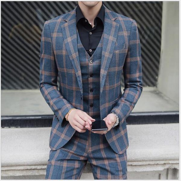 Fashion Plaid Tweed Bridegroom Wedding Clothing Best Men Suits Three Pieces (Blazer+Pant+Vest) Business Banquet Tuxedos For Sale
