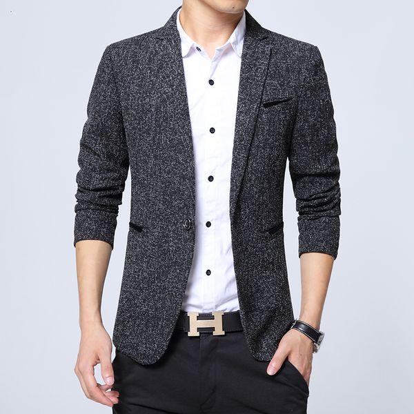 Heren Blazers Solid Slim Fit Business Casual Britse Stijl Mannen Jas Uitloper Blazers Jas Mannelijke