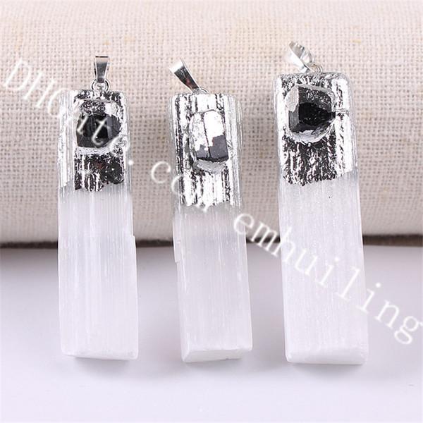 silver white selenite w/black tourmaline