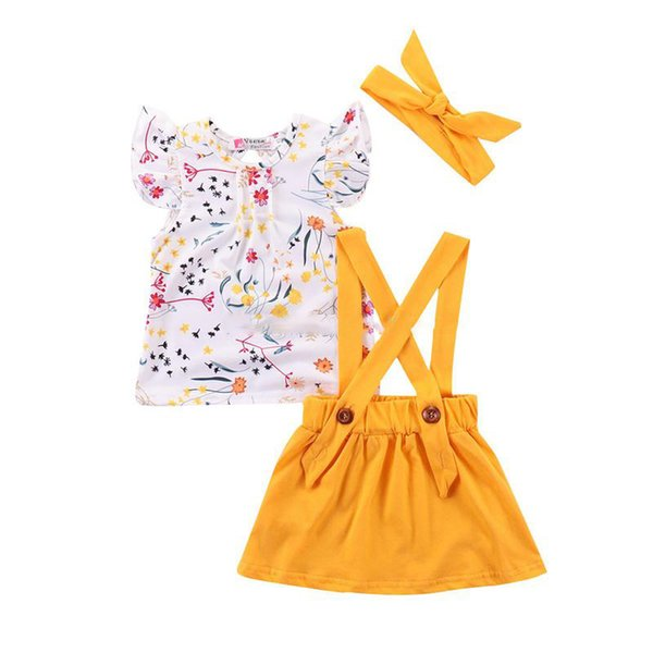 2019 three-piece summer tide European and American girls suit new small and medium girls kids desigener clothes strap outfits