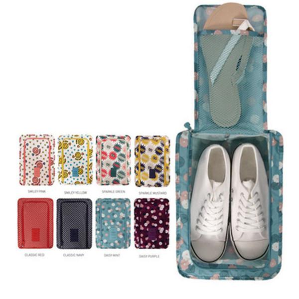 Portable Nylon Travel Totes Bag Blue Floral Zipper Shoe Pouch Waterproof Travel Shoe Organizer Bag