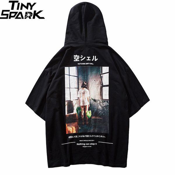 Mens com capuz de t camisa hip hop estilo japonês 2019 t-shirt do verão streetwear harajuku camiseta com capuz de manga curta tops tees de algodão j190611