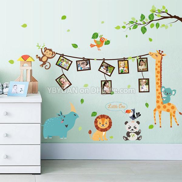 Cartoon Animals Children Wall Stickers Panda/Lion/Giraffe/Rhinoceros/Monkey with 8 Photo Frame Decals For Baby Birthday Kids Room Decoration