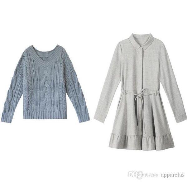 The Pop Fashion Tide Dulce sabor de Hong Kong Suéter de camisa de hermana suave con falda Traje de dos piezas