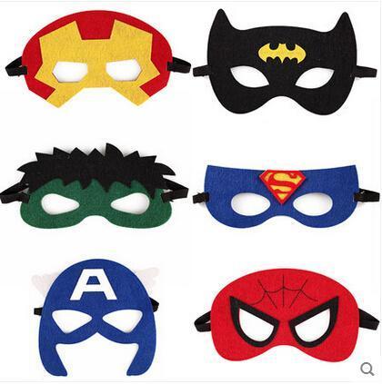 Fantasia Suprimentos de Halloween Meia Face Multi Estilos de Pano de Feltro Máscaras de super-heróis máscara de mão Crianças Máscara Do Partido