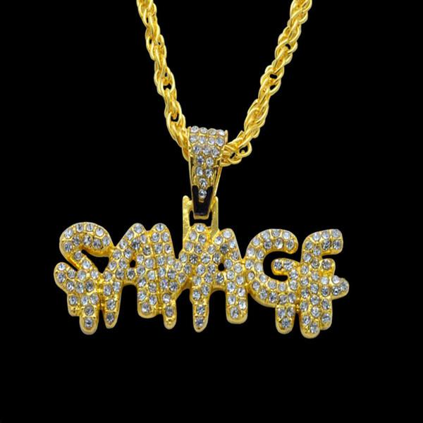Collana hip hop Ottone Colore oro Catene ghiacciate Micro pavimenta zircone cubico Collana pendente pendente SAVAGE Fascino per uomo Regali