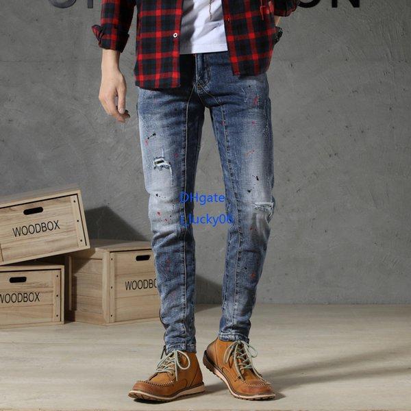 Nova listagem Novos homens jeans 2019 novos produtos Magro Pés Pequenos Calças Força Elástica Longo Inferior De Uma Calças Perna Cinto Com Zíper