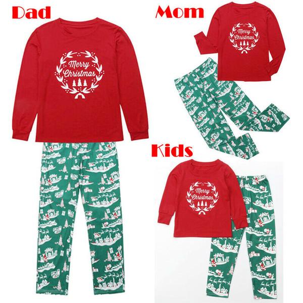 Family Christmas Pajamas Xmas Pajamas Sets Outfit Letter Print Matching Family PJS Womens Mens Kids Homewear Nightwear