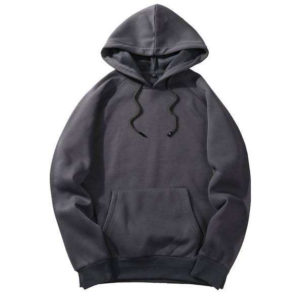 2019 solid color thick men's hoodies 2018 european size hooded pullover hoodie fashion big size sweatshirts fleece couples, Black