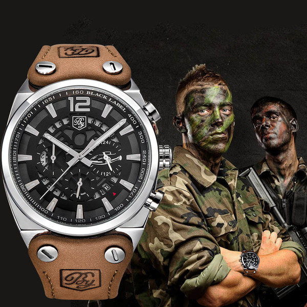 Benyar Sport Men Watches Skeleton Military Chronograph Quartz Man Outdoor Big Dial Watch Army Male Clock Relogio Masculino Saat Y19051503