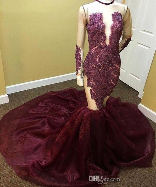 2019 New African Burgundy Mermaid Long Sleeves Prom Dresses Sheer See Through Beaded Crystal O neck Court Train Long Prom Gowns 1114