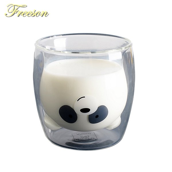 Lovely Panda Double Wall Cup 260ml Bear Beer Glasses Creative Morning Milk Juice Heat Resistant Mug Shot Glass Q190525