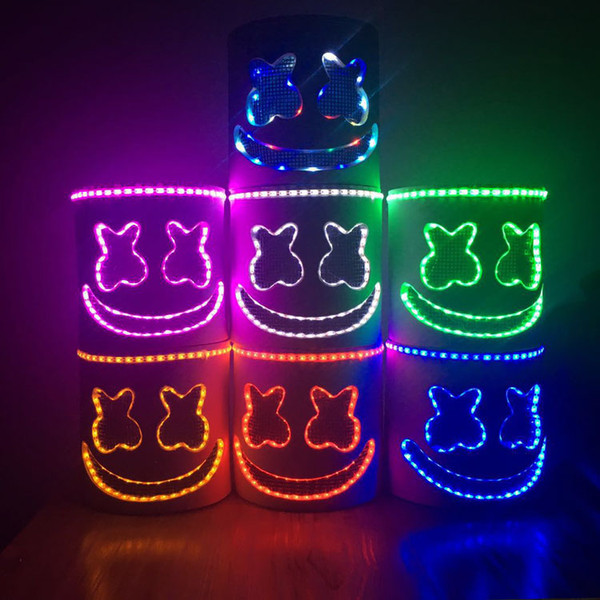 LED Light Mask Full Head Helmet Halloween Cosplay Bar Puntelli musicali per MarshMello DJ Music giocattolo fai da te MMA1524
