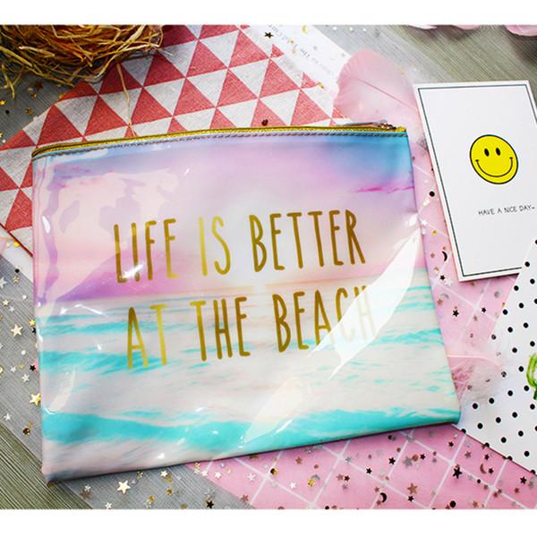 3pcs Cosmetic Bag Women PVC Waterproof Letter Printed Travel Zipper Storage Wash Beach Bags