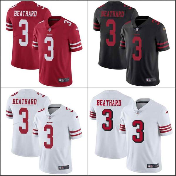 San Francisco49ers # 3 C.j. Beathard Noir Rouge Blanc Hommes Femmes Enfants CousuJersey NFL vapeur Intouchable limitée
