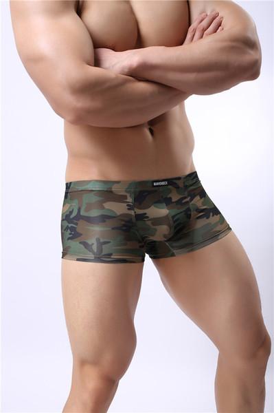 Mens Fashion Camouflage Panties Four-corner Printed Underwear Sexy U Highlight Design Breathable Comfortable Low Waist Elastic Underweants