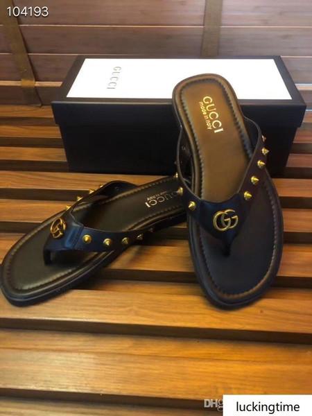 Estate Arrivato uomini s Scarpe Rivetti piatto Espadrillas casual sandali in gomma Stampa Pantofole Flip Flop 38-45