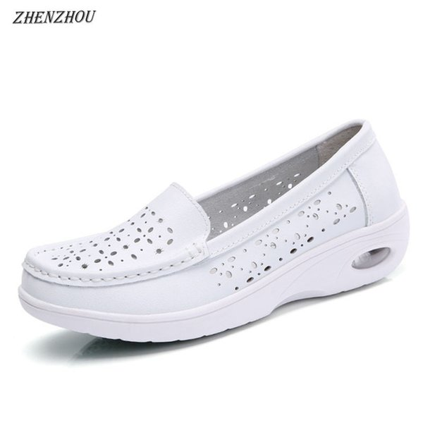 Designer Dress Shoes Free shipping women 2019 Summer Casual white wedge heels breathable work anti-skid air cushion pregnant
