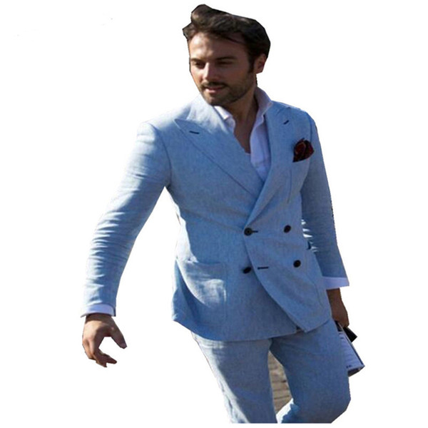 New Arrival Blue Custom Made Tuxedos Peak Lapel Men's Suits Prom Suits Groomsmen Mens Wedding Suits (Jacket+Pants+Tie)