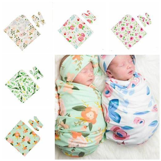 Newborn Blankets Baby Wrap Hair Band Set Photography Props Baby Blanket Swaddling Infants Wrap Flower Toddlers Baby Sleeping Bag Gifts