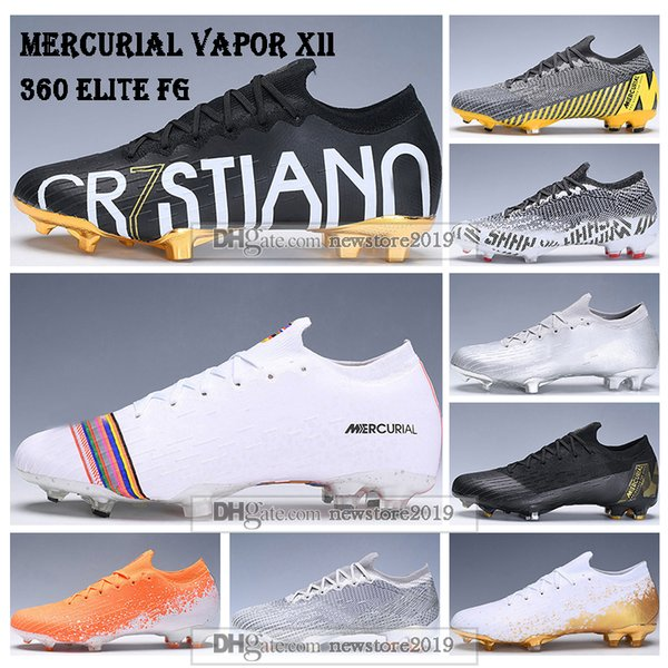 Kids Low Ankle Football Boots Youth Mercurial Vapors XII Elite FG Soccer Shoes Men Women CR7 Superfly VI 360 ACC Soccer Cleats