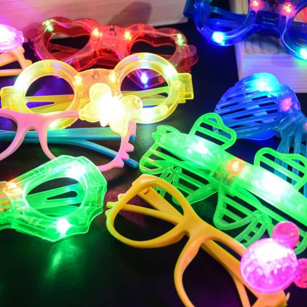 LED Glasses Glow in The Dark Party Supplies Butterfly Love Heart Spider Man Five Pointed Star Shape 6 lights glasses KKA7565