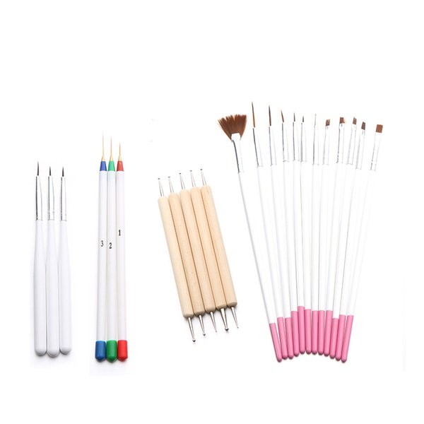 Nail Tools Pennelli per unghie 23PC Nail Art Gel UV Polish Design Dot Pittura Detailing Pen Brushes Tool Set Drop shipping Set28