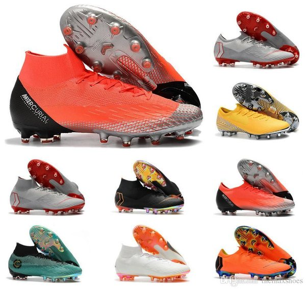 Superfly Men Mercurial 2019 Vi 360 Elite Vaporx Xii Elite Ag 6 12 Cr7 Ronaldo Njr Neymar Soccer Football Shoes Size 39-45