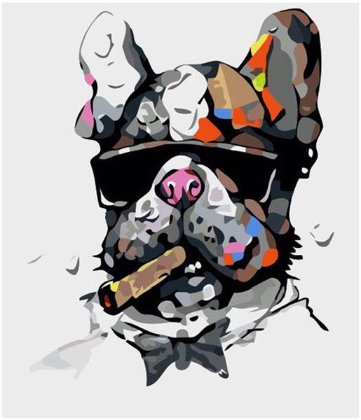 """Oil Paint Kits Paint DIY Painting By Numbers Adult Hand Painted-Smoking dog 16""""x20"""""""