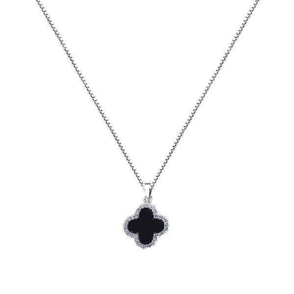 S925 puro argento trifoglio collana donna agata nera intarsiato micro diamante ciondolo catena clavicola Giappone moda coreana nuovi gioielli