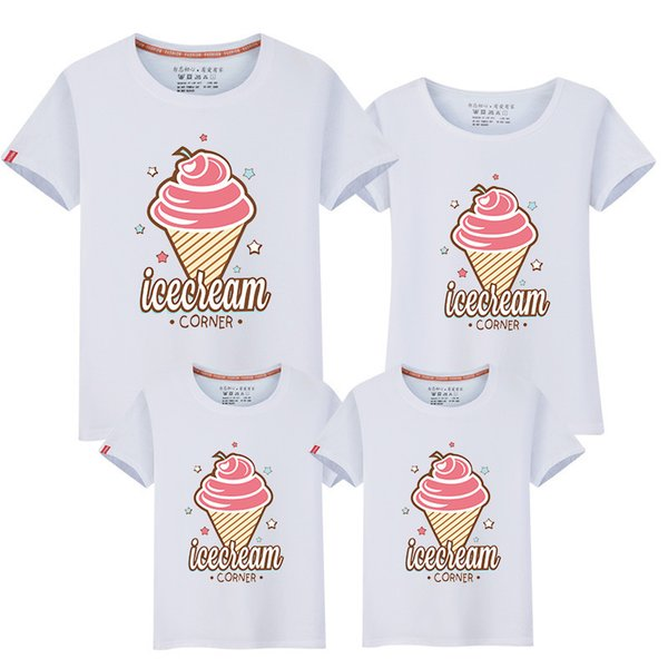 Family Look Mom Dad Son girl T-shirt 2019 New Cute O-neck T Shirt Family Clothes Cotton Tops Matching Kids Mother Clothing Fy044