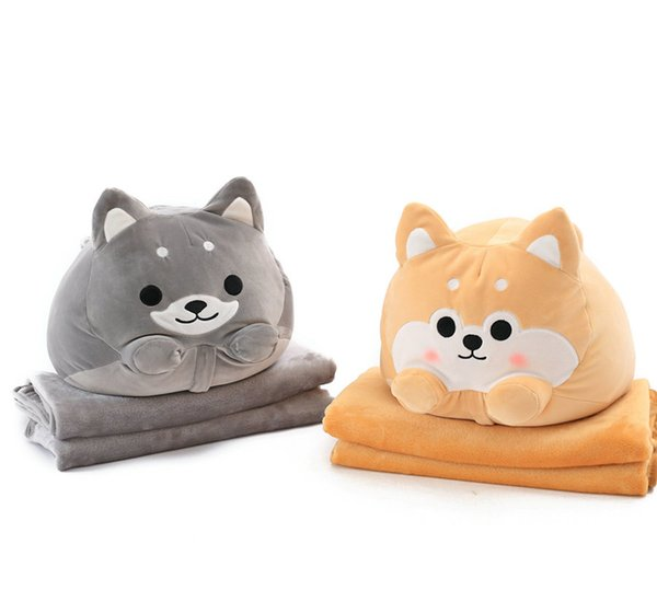 Cute Dog Plush Toy Shiba Inu Shape Stuffed Pillow Animal 2 In 1 Cushion With Blanket Baby Kids Toy Birthday Gift