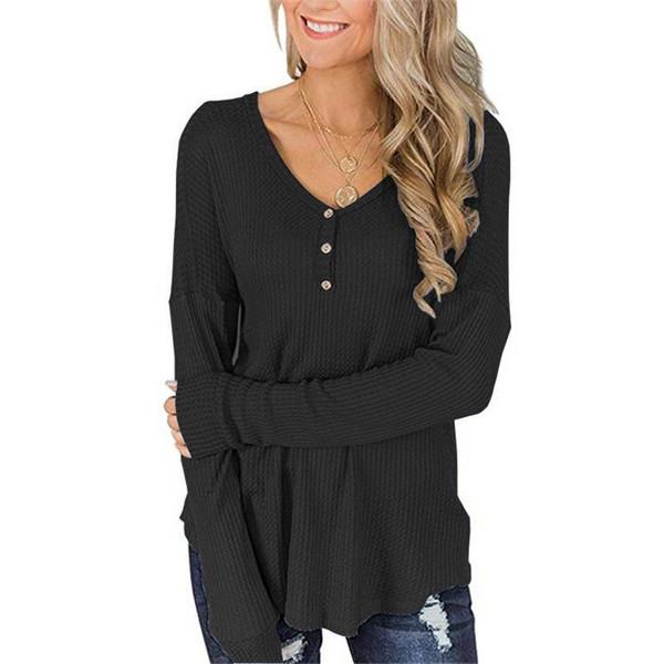 T-shirt a manica lunga con scollo a V Bottone T-shirt allentate Moda Abbigliamento donna Drop ship Nero Bianco 220237