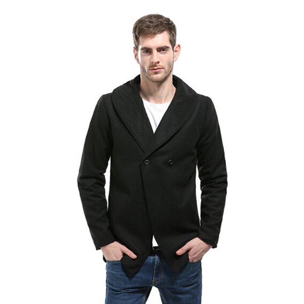 Men's Long Wool Trench Coat Brand New Wool & Blends Winter Men Coat Slim Fit One Button Fashion Male Solid 2XL
