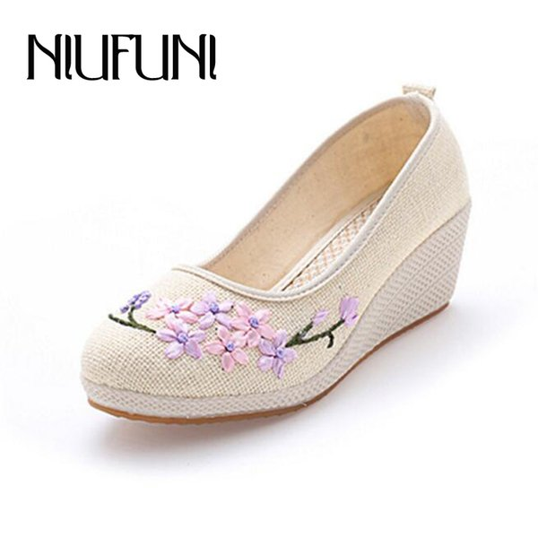 Designer Dress Shoes Spring Embroider Simple Women's Wedges Comfortable Old Beijing Cloth Women Chinese Style Casual High Heel