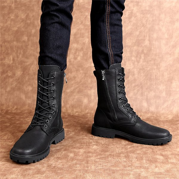 Men 's Boot Winter Waterproof Anti Slippery Chaussure Homme Cuir Plus Size Outdoor High-top Leather Shoes British Style Boots 55
