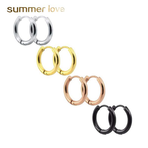 Trendy Round Small Hoop Earrings 8mm-16mm 316L Stainless Steel Gold Silve Rose Gold Black Earrings Simple Party Earrings for Women Jewelry