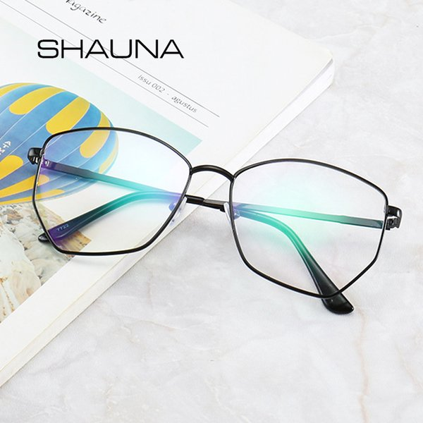 SHAUNA Square Computer Glasses Anti Blue Ray For Women Myopia Frame Black Prescription Eyeglasses Clear Lens Optical Glass Men