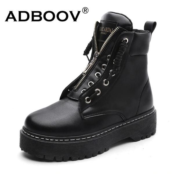 ADBOOV Nueva PU Botines de cuero Mujer Otoño Invierno Plataforma Plana Zapatos Plus Size 35-42 Martins Boots Zip Botines de moto