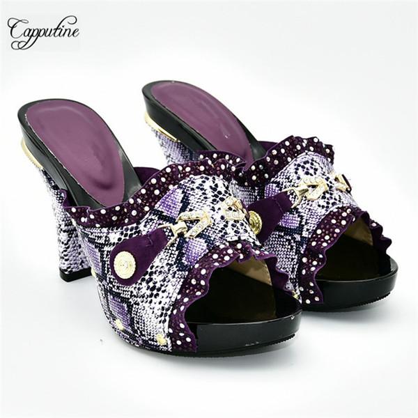 Erstaunlich lila African Lady High Heel Schuhe schön passend für Hochzeit / Party Kleid 288-1, Größe 38-42, Absatzhöhe 11cm
