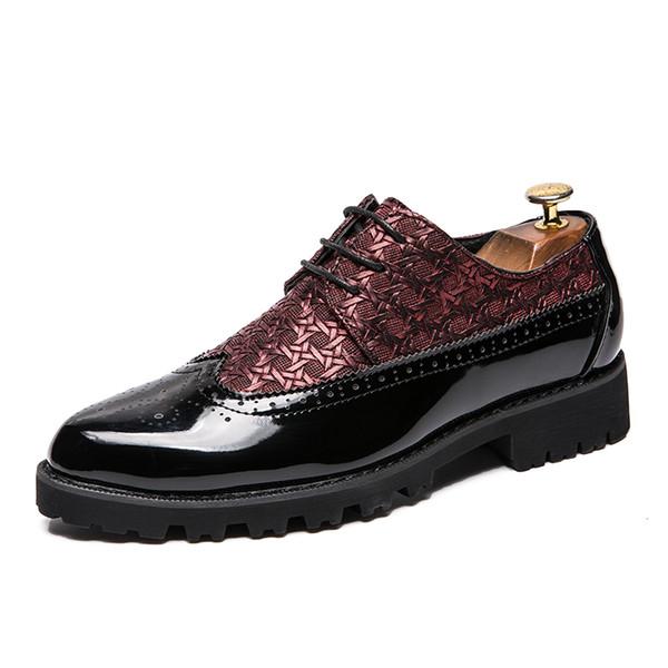 2019 мода острым носом кроссовки мужчины мокасины лакированная кожа оксфорд обувь