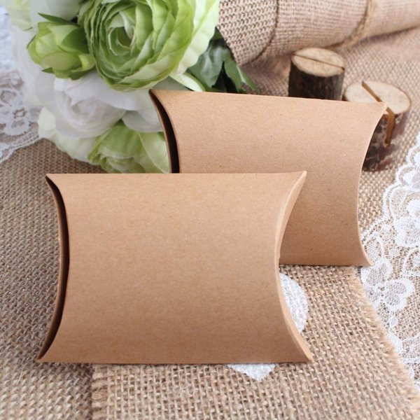 bags wholesale 100Pieces/lot New Style Kraft Pillow Shape Wedding Favor Gift Box ,Party Candy Gift Bag Wholesales