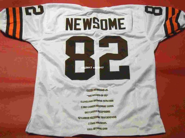 Barato retro # 82 OZZIE NEWSOME CUSTOM STAT MITCHELL NESS Jersey ÚLTIMO Hombre blanco Costura de gama alta Tamaño S-5XL Camisetas de fútbol Colegio
