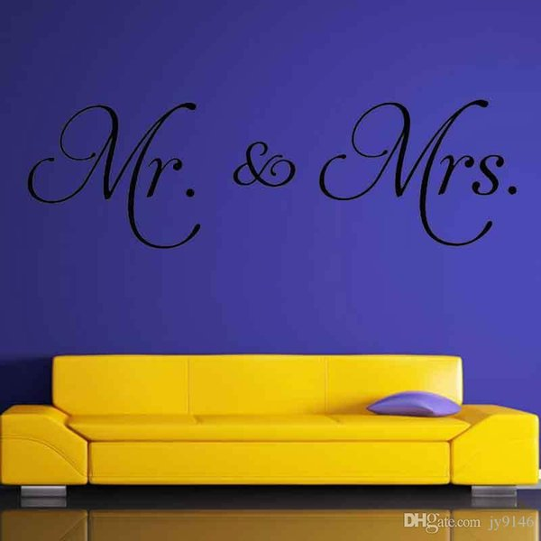 Mr & Mrs Wall Art Decals Vinyl Self-adhesive Master Bedroom Marriage Sign Personalized Home Decorative Sticker for Bedroom Decor