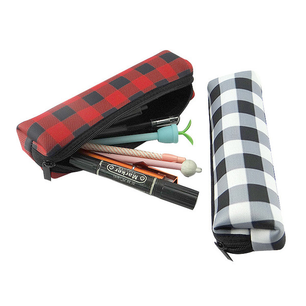 Red Plaid Makeup Bag Wholesale Blanks Buffalo Check Cosmetic Bag Long Size Neoprene Pencil Case Free Shipping